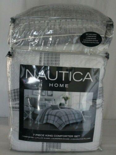 Nautica Home Eastmoor 7-Piece King Comforter Set 100% Cotton w/ Shams   Pillows