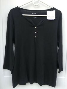 Croft-amp-Barrow-Women-s-XL-Henley-NWT-Black-Classic-Tee-Cotton-Top-3-4-Sleeves