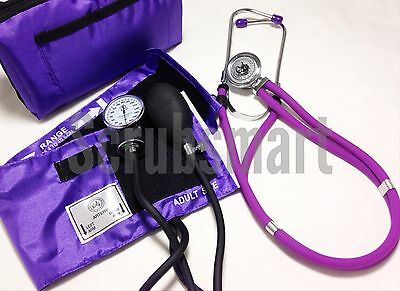 Blood Pressure BP Cuff Monitor and Sprague Rappaport Stethoscope Set - Purple