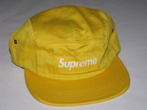 4046773f SUPREME NY Washed Chino Twill Camp Cap Hat YELLOW Adjustable NEW! F ...