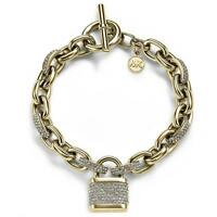 MICHAEL KORS MKJ3799710 MKJ3799 PAVE CRYSTAL PADLOCK GOLD CHAIN TOGGLE BRACELET