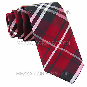New-Men-039-s-Vesuvio-Napoli-plaid-2-5-034-skinny-Neck-Tie-Necktie-only-Party-Prom-Red