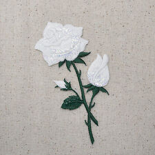 White Rose - Open - Buds on Stem - Iron on Applique/Embroidered Patch