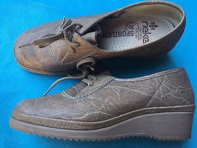 Rieker Damen Lederschuhe Echt Leder Schuhe Halbschuhe Schnürschuhe Größe 38