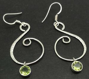 Details About Peridot Hammered Round Drop Earrings Solid Sterling Silver New Uk Er