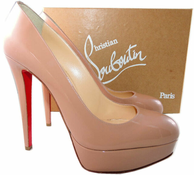 b8c13dca119 Christian Louboutin BIANCA 140 Nude Sz40 Patent Leather PUMPS High HEELS  Shoes