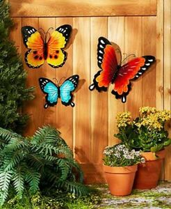Details About Wall Art Indoor Outdoor Metal Wall Decor Butterfly Set Style Fence Porch Space