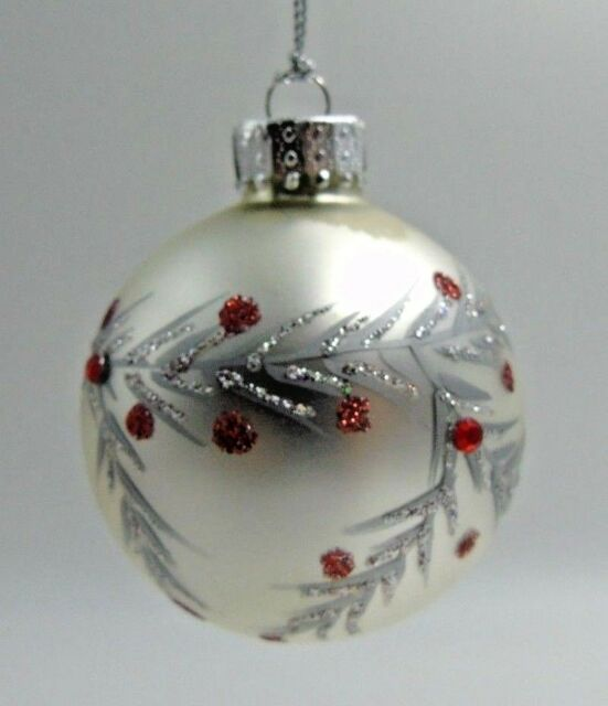 Dept 56 Glass Christmas Ornament Silver Red Dots Round NWT ...