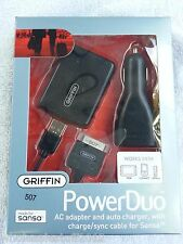New Griffin PowerDuo Wall Car Charger & Sync cable for Sandisk Sansa MP3 Player