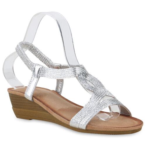 Damen Sandaletten Keilsandaletten Keilabsatz Sommerschuhe Wedges 830080 Schuhe