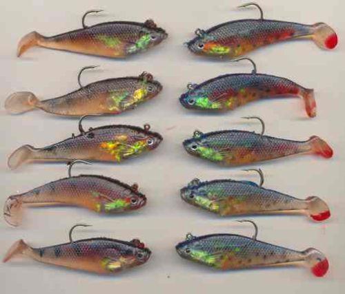 2 motifs 10 brochet et perche 3 pouces plastique souple swim bait lures
