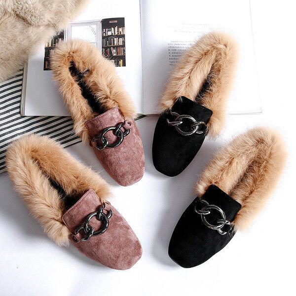 Ballerine mocassini scarpe eleganti pelliccia calde rosa nero nero nero nero ... ce3a3d