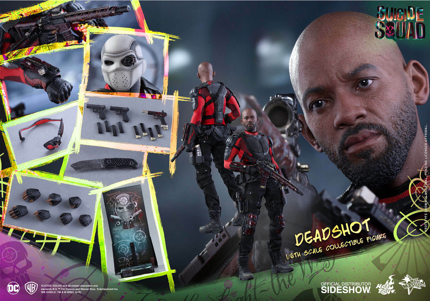 DC Suicide Squad Deadshot Will Smith MMS 381 Action Figure 16 Hot Toys Sideshow