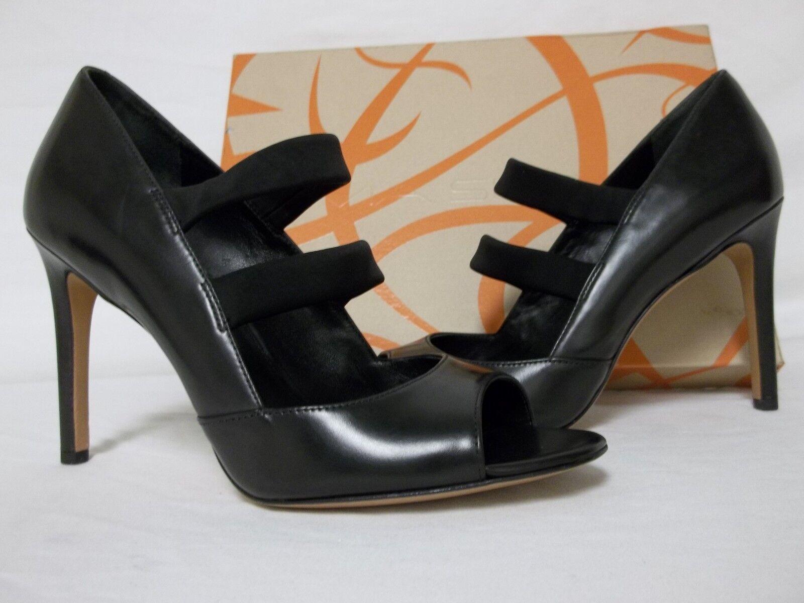 Via Spiga Size 6.5 M Ettie Ettie M Black Leather Ankle Strap Heels New Womens Shoes 41b436