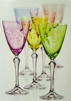 Set Of 6 Glamorous Harlequin Fuschia Etched Wine Glasses By Bohemian Crystal.