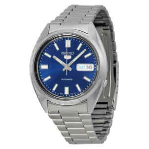 Seiko-5-Automatic-Blue-Dial-Stainless-Steel-Men-039-s-Watch-SNXS77