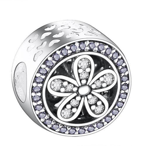 CZ 925 Charms Silver Bead Cubic Zircon Women/'s Jewelry For Sterling DIY Bracelet