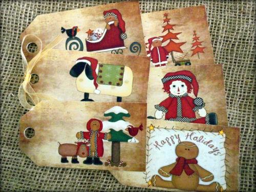 Set De 6 Grandes primitivo Navidad Etiquetas De Regalo Y Lazo