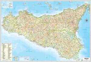 Sicilia Geografica Cartina.Dettagli Su Carta Geografica Murale Regione Sicilia 97 X 70 Cm Belletti Cartina