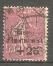 FRANCE-STAMP-TIMBRE-N-254-034-CAISSE-AMORTISSEMENT-SEMEUSE-50c-1929-034-OBLITERE-TB