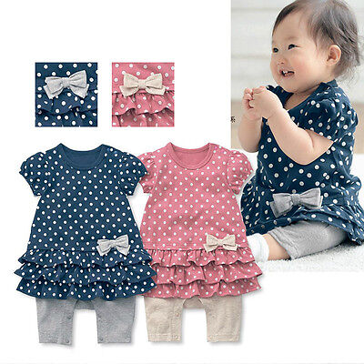 1pc Baby Girl Kids Newborn Summer Romper Bodysuit Polka Dot Clothing Outfit