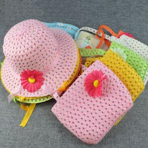 RA-Summer-Girls-Kids-Baby-Cap-Flower-Decor-Beach-Straw-Sun-Hat-Handbag-Set-Ey