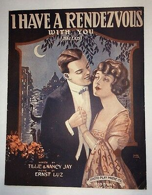Sheet Music Art I Have A Rendezvous With You Pretty Lady Man Moon Italy ?