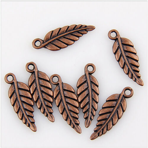 80 3D Copper tone Leaf Charms Pendants Jewelry Making Findings 19mm EIF0792