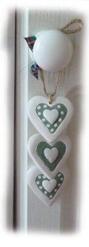 3 SHABBY CHIC STYLE hearts green and  CREAM