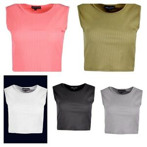 NEW-WOMENS-LADIES-SLEEVELESS-RIB-STRETCH-CASUAL-T-SHIRT-GIRLS-SEXY-CROP-TOP-VEST