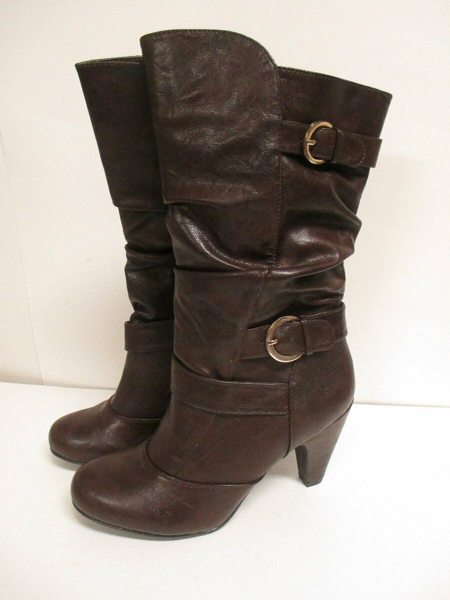 White Mountain Giddy Strappy Boot  Brown Smooth New with Box