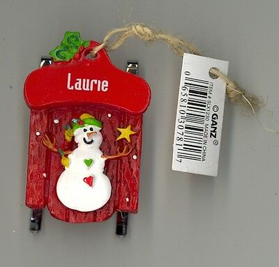 Ganz Snowman Sleigh Sled Ornament Personalized /'MADISON/'  Stocking Stuffer NWT