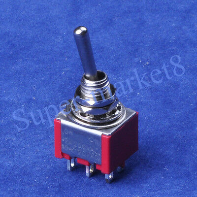 2PCS Red Mini Toggle Switch DPDT ON-ON Guitar Amp 6Pin