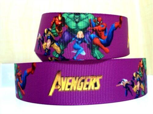 """Marvel Avengers Ribbon 1/"""" Wide 1m is £1.29 NEW UK SELLER FREE P/&P 25mm"""