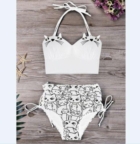 High Waist Ladies Swimwear Cute Cat Design Halter Style Bikini Set Bathing Suits