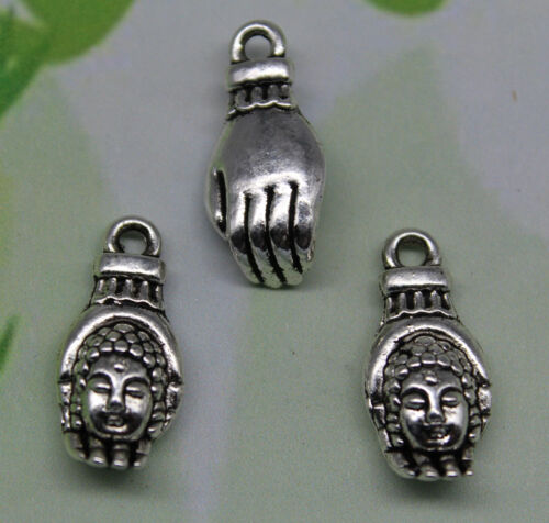 6//15//30//100pcs retro style Hand Buddha/'s head alloy charms pendants 18x8mm