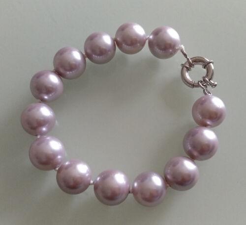 14 mm lila Muschelkernperlen Armband shell pearl bracelet