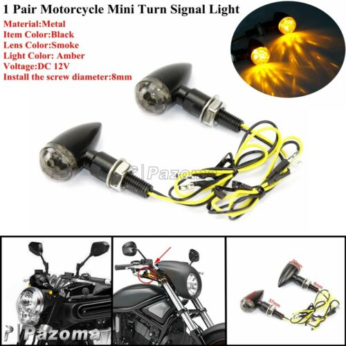 2x Black Motorcycle LED Mini Bullet Amber Turn Signal Light 8mm Bolt For Harley