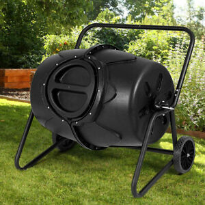 Wheeled Compost Tumbler Garden Waste Bin Grass Trash Barrel Fertilizer