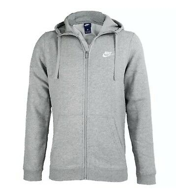 Details about Nike Men Sportswear Club Fleece Full Zip Grey Hoodie Size S XXL 823531 063
