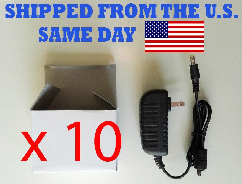 Lot of 10 Power Supplies - 9 Volt 2 Amps , 5.5 mm x 2.1mm Neg tip [ V 2000 mA ]