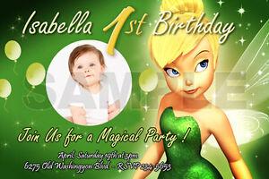 Tinkerbell Fairies Birthday Party Invitation Photo 1st Baby Shower