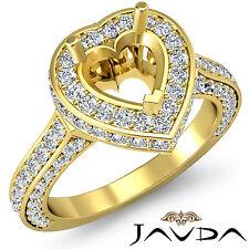 Diamond Engagement Filigree Ring Heart Semi Mount Halo Pave 14k Yellow Gold 1.6C