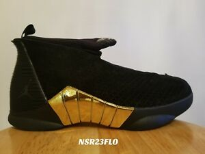 27feb6b4185b NIKE AIR JORDAN 15 RETRO DB DOERNBECHER BLACK METALLIC GOLD BV7107 ...