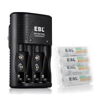 4 Rechargeable Batteries AA 2800mAh + 4 Slot AA AAA 9V NiMH NiCD Battery Charger