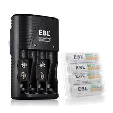 4 Rechargeable Batteries AA 2800mAh + 4 Slot AA AAA 9V NiMH NiCD Battery Charger