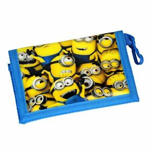 Minions Unisex Wallet Tri Fold Velcro Close Wipe Clean PVC Wallet Purse Clip