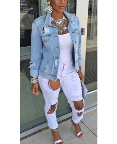 Women Denim Jeans Jacket Faded Ripped Oversized Slim Coat Outwear Plus Size Tops