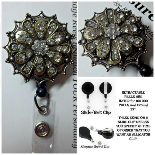FLORAL Multi-Toned Metal Rhinestone Bling  Retractable Reel ID Badge U pick Reel