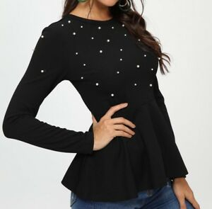 Round-Neck-Long-Sleeve-Peplum-Elegant-Blouse-Top-Casual-Work